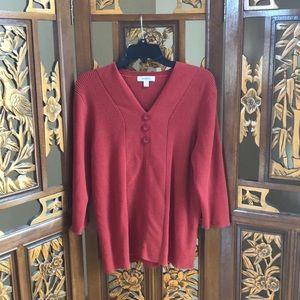 Dressbarn Burnt Orange 3/4 Sleeve Sweater Size 2X